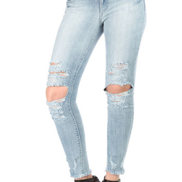 Light Wash Shredded Skinny Jeans