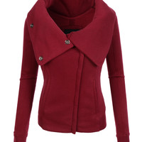 LE3NO Womens Cowl Neck Zip Up Fleece Jacket with Thumb Hole