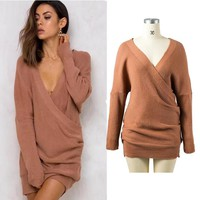 Knit Tops Winter Women's Fashion V-neck Sweater [31066554394]