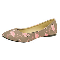 Grey & Pink Flamingo Print Flats
