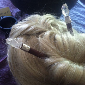 Handmade Quartz Crystal Hairsticks TMC739 ....by The Morrigan's Closet.....Wicca Witch Witchcraft Celtic Pagan Viking