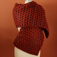 Terracotta Crochet Shawl, Handmade Wool Echarpe, Crochet Wool Shawl