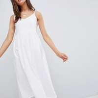 ASOS DESIGN midi smock sundress with tie straps at asos.com