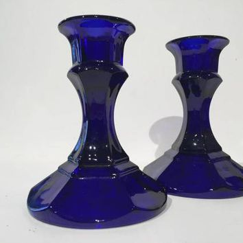 Cobalt Blue Glass Candlestick Holders, Blue Pressed Glass Taper Candleholders, Cobalt Blue Pressed Glass Cottage Chic Taper Candle Holder