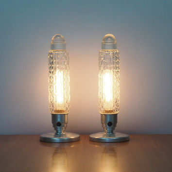 Pair of Industrial Art Deco Bullet Lights with Glass Torpedo Shades Skyscraper Lamps Vintage Home Decor