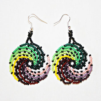 Beaded Ying Yang Earrings - Surfer Chic - Boho Chic - Beach Jewelry - Huichol Earrings - Native American Beadwork - Earth Wave Earrings