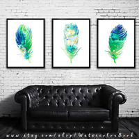 Buy 2 Get 1 FREE!!! Special offer, Feathers Watercolor Print, Art Home Decor, animal watercolor, Feathers art,animal art, bird print