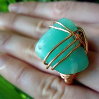 Raw chrysoprase copper ring - raw stone ring - size 6  - wrapped ring - natural stone ring - cocktail ring - chunky ring