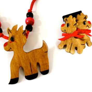 Handpainted Wooden Reindeer Necklace and Earrings