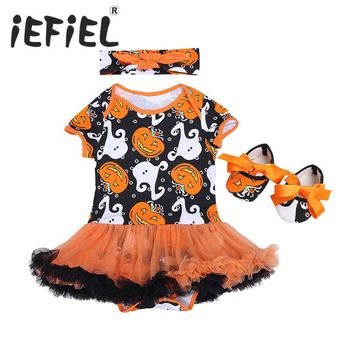 Toddler Girls Costume Clothes 3PCS Infant Baby Girls Newborn Bebes Halloween Pumpkin Print Outfit Romper with Headband and Shoes