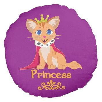 Princess Kitten Round Pillow