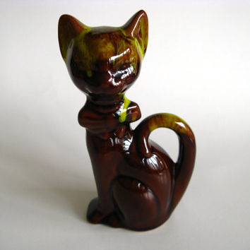 Vintage Cat Figurine Brown Green Drip Glaze Retro by pillowsophi