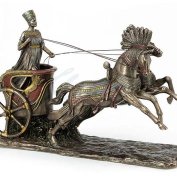 Nefertiti Driving Horse Chariot Egyptian Queen Statue