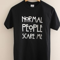 Normal People Scare Me Black Graphic Top