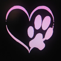 Decal Custom Dog Paw Print Hearts Vinyl Decal Sticker Car Vehicle Auto Window Decal