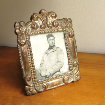 Vintage Metal Embossed Picture Frame, Copper or Tin Frame, Wood Frame, Ornate Frame