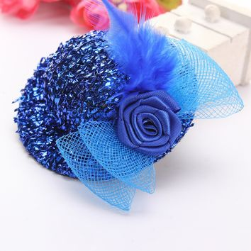 Women Mini Feather Hat Cap Lace Fascinator Hair Clip Costume Accessory Tool