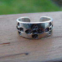 Stamped 925 Sterling Silver Adjustable Flower Toe Ring
