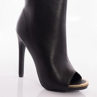 Forever Put Your Foot Down High Heel Peep Toe Ankle Booties - Black