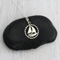 Boat Necklace - Sterling Silver Sailboat Charm Necklace - Sea Lover Gift - Boating Necklace - Sailboat Necklace -Nautical Jewelry - Sailing