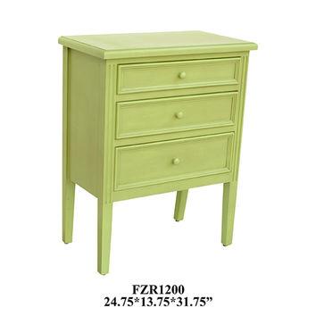 Crestview Pistachio Green 3 Drawer Chest - CVFZR1200