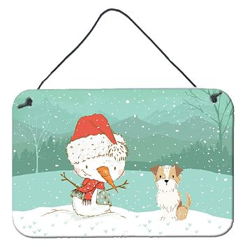 Brown and White Terrier Snowman Christmas Wall or Door Hanging Prints CK2096DS812