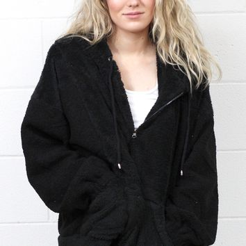 Cuddle Life Faux Fur Plush Hoodie {Black}