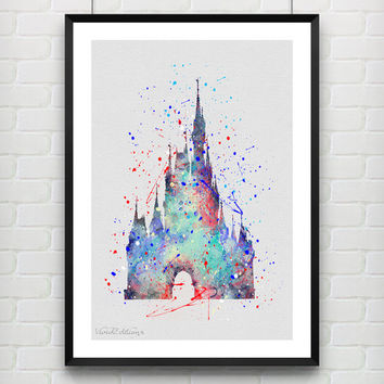 Cinderella's Castle Disney Watercolor Art Print, Princess Poster, Baby Nursery Wall Art, Home Decor, Not Framed, Buy 2 Get 1 Free! [No. 104]