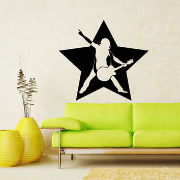 Rock Star Music Guitar Decal Rock Star Wall Decals Home Decor Vinyl Art Wall Decor Bedroom Music Studio Sound Recording Studio Decor SV5499