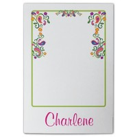 Abstract Floral Colorful Personalized Post-it Notes