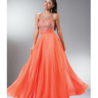 2014 Prom Dresses - Orange Rhinestone Beaded Chiffon Gown