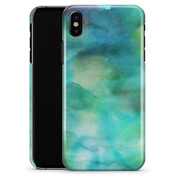 Green 979 Absorbed Watercolor Texture - iPhone X Clipit Case