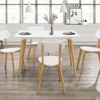 5 pc Orpheus collection natural pine and white finish wood mid century modern style dining table set