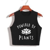 2017 Funny Vegan Crop Tops Power by plants Crop Top 80s 90s Year Girls Fashion Tank Top summer tops for women Tumblr Sleeveless