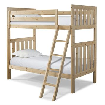 Twin over Twin Natural Pine Wood Bunk Bed with Ladder