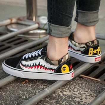 Vans X Bape Unisex Custom Sneakers ON SALE