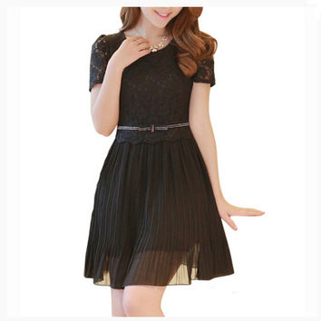 Lace patchwork waist belt short sleeve pleated dress