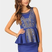 Melanie Studded Dress - Royal Blue at Necessary Clothing