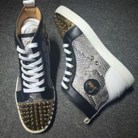 Cl Christian Louboutin Lou Spikes Style #2186 Sneakers Fashion Shoes - Best Deal Online
