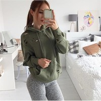 Women's Fashion Hot Sale Hats Ripped Holes Green Tops Hoodies [8505779533]