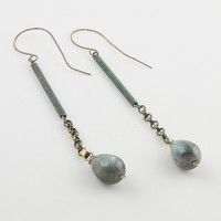 Labradorite Patina Bronze Spiral Earrings