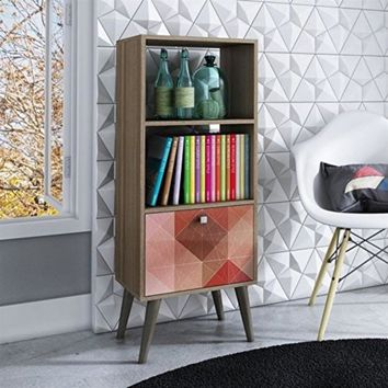 Sophisticated Sami Double Bookcase with 2 Open Shelves and 1- Drawer