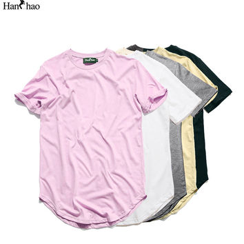 Kanye West Extended T-Shirt Men 2016Summer Curved Hem Longline Hip Hop Tshirts Urban Blank Mens Tee Shirts Justin Bieber Clothes