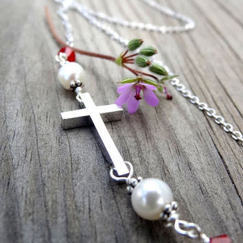 ON SALE Rhodium Silver Cross Freshwater Pearl and Crystal Handmade Necklace Christian Religious Jewelry Easter