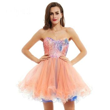 Ball gown cocktail dress pink knee length sequined printing sleeveless dress party short cocktail dresses