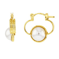 Flower Gold Plated 18k White Pearl Small Hoop Earrings Lady Teens 18mm