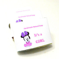 Its a Girl 150 Customized Baby Shower  Soaps . 2 oz Soap Favors . Baby Girl Favors . Handmade natural soaps . Medium size soap . Μπομπονιέρα
