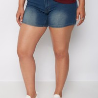 Plus Medium Blue Mid Rise Midi Short | Plus Shorts | rue21