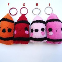 Crayon Keychain - Cute , Kawaii Plush Stocking Stuffer