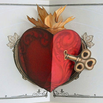 Father's Day Heart with Key Pop Up Card by crankbunny on Etsy